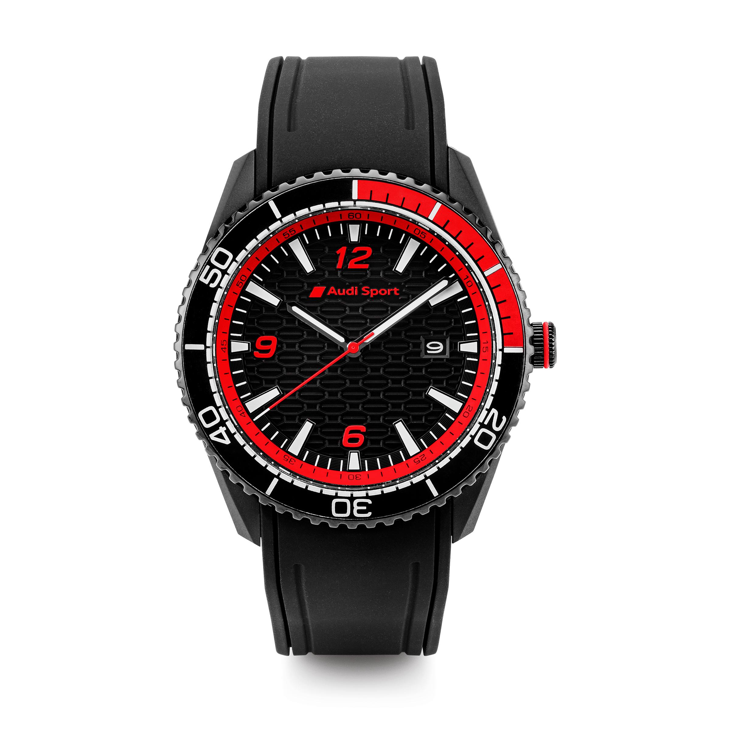 Audi Sport Uhr, Herren, schwarz/rot